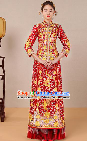 Traditional Chinese Ancient Red Toast Cheongsam Embroidered Dragon Phoenix Bottom Drawer Xiuhe Suit Wedding Dress for Women