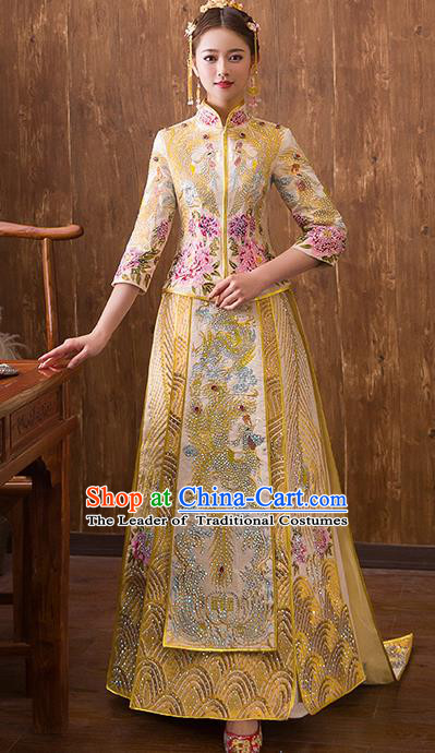 Traditional Chinese Ancient Diamante Trailing Yellow Bottom Drawer Embroidered Phoenix Xiuhe Suit Wedding Dress Toast Cheongsam for Women