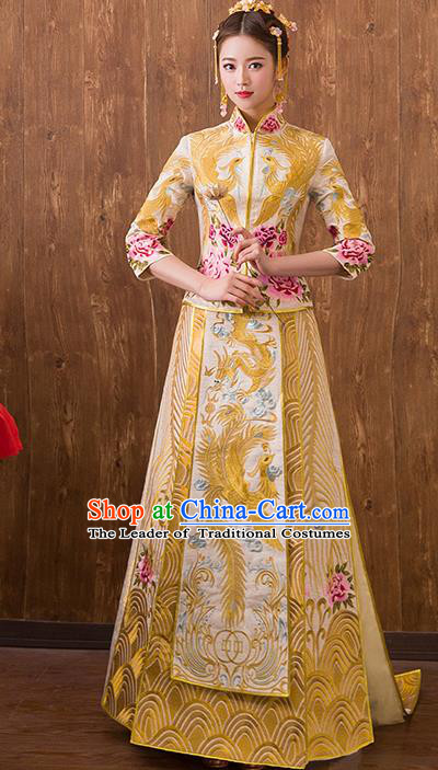 Traditional Chinese Ancient Trailing Yellow Bottom Drawer Embroidered Peony Xiuhe Suit Wedding Dress Toast Cheongsam for Women
