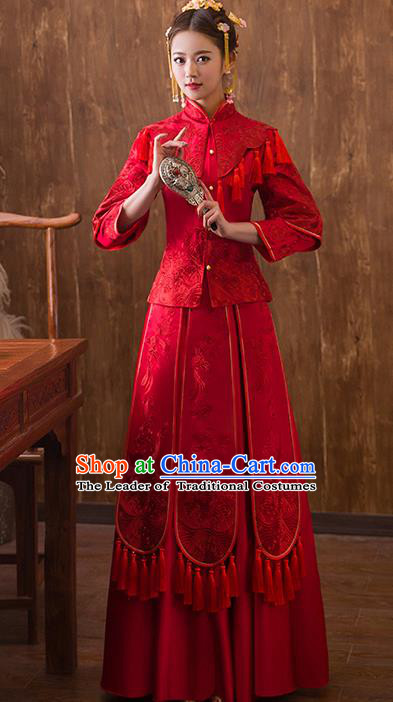 Traditional Chinese Ancient Red Bottom Drawer Embroidered Xiuhe Suit Wedding Dress Toast Cheongsam for Women