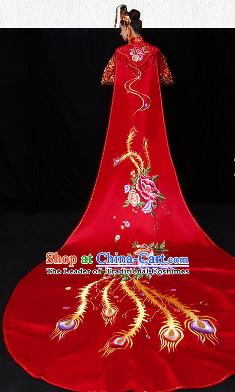 Chinese Traditional Wedding Embroidered Cloak Ancient Bride Xiuhe Suit Clothing for Women