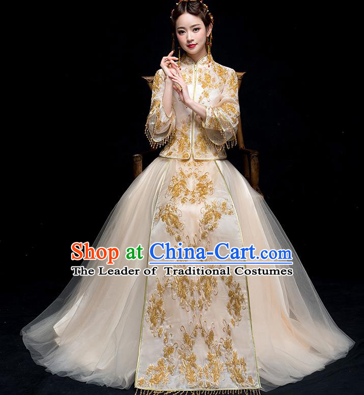 Chinese Traditional Wedding Golden Embroidered Costume Ancient Bride Xiuhe Suit Clothing for Women