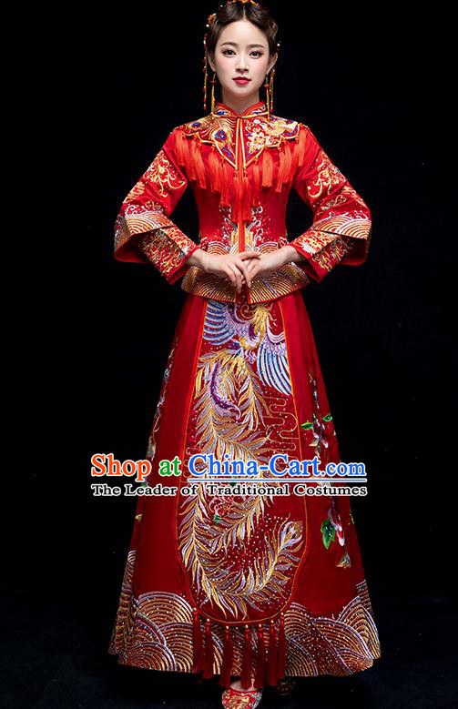 Chinese Traditional Wedding Red Embroidered Phoenix Peony Costume Ancient Bride Xiuhe Suit Clothing for Women