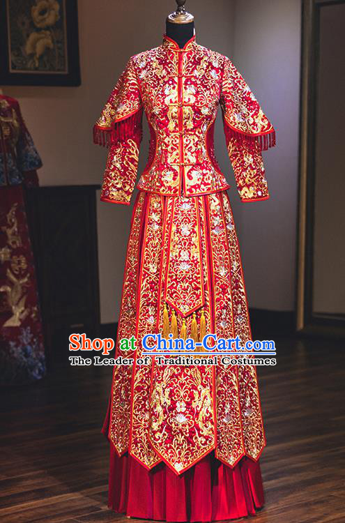 Chinese Traditional Wedding Delicate Embroidered Dress Diamante Bottom Drawer Ancient Bride Xiuhe Suit Costume for Women