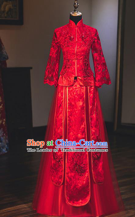 Chinese Traditional Delicate Embroidered Lace Wedding Toast Dress Ancient Bride Longfeng Flown Xiuhe Suit for Women