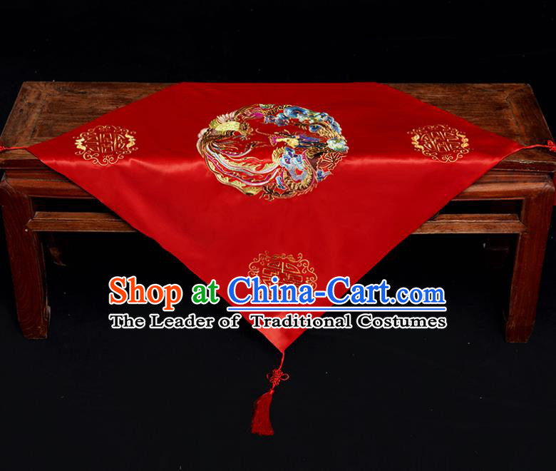 Chinese Traditional Wedding Head Cover Ancient Bride Embroidered Round Dragon and Phoenix Red Bridal Veil for Women