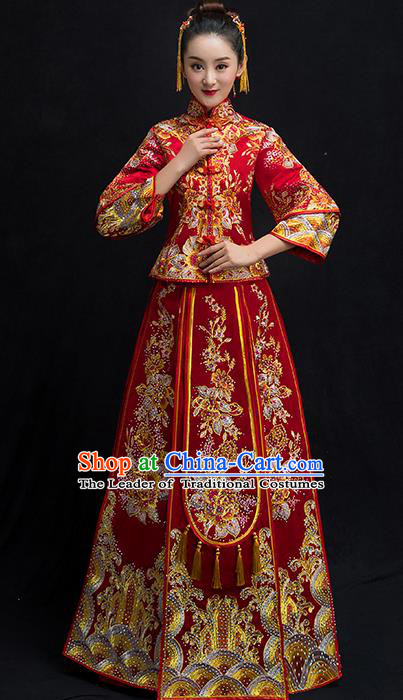 Chinese Traditional Bridal Embroidered Diamante Toast Xiuhe Suit Wedding Dress Ancient Bride Red Cheongsam for Women