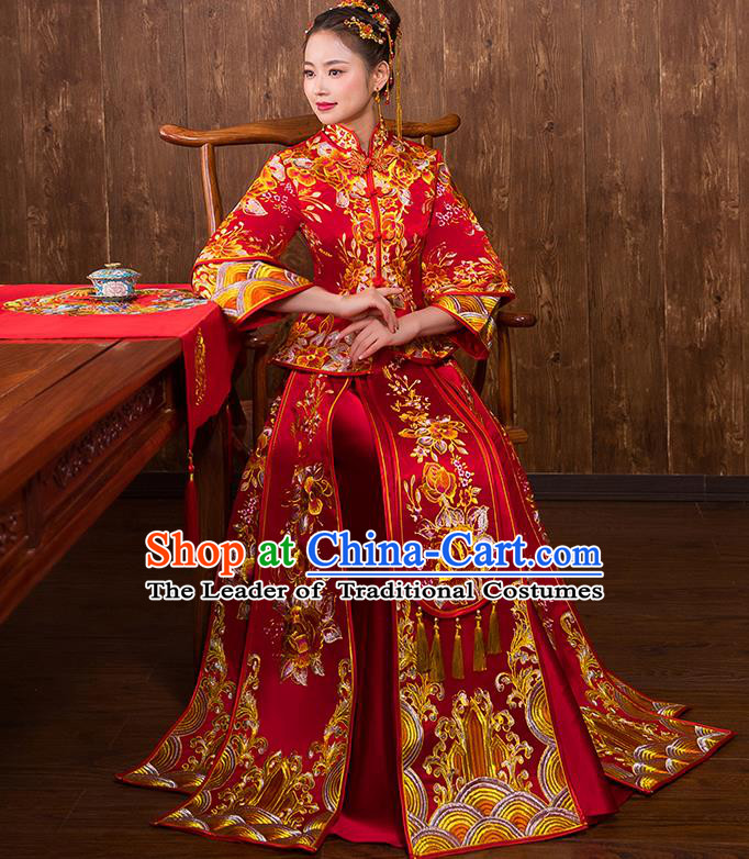 Chinese Traditional Wedding Bridal Embroidered Peony Xiuhe Suit Ancient Bride Red Cheongsam for Women