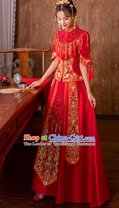 Chinese Traditional Embroidered Bottom Drawer Bridal Wedding Xiuhe Suit Ancient Toast Cheongsam for Women