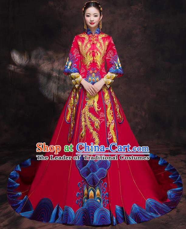 Chinese Traditional Embroidered Trailing Xiuhe Suit Longfeng Flown Ancient Bottom Drawer Wedding Dress for Women