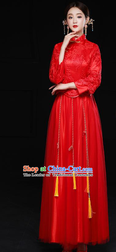 Chinese Traditional Red Lace Xiuhe Suit Longfeng Flown Ancient Bottom Drawer Wedding Dress for Women