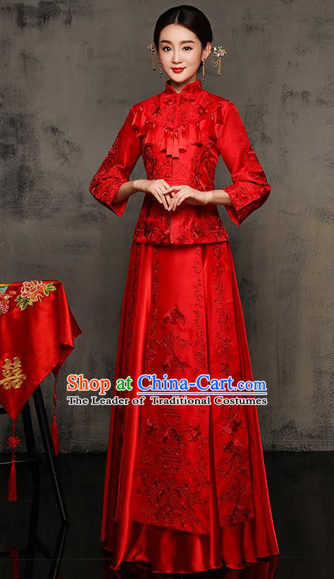Chinese Traditional Xiuhe Suit Toast Cheongsam Ancient Embroidered Phoenix Bottom Drawer Wedding Dress for Women