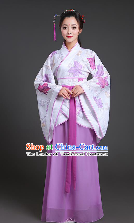 Chinese Ancient Drama Han Dynasty Princess Embroidered Purple Hanfu Dress for Women