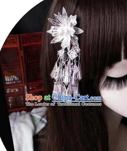 Chinese Traditional Ancient Hair Accessories Hanfu Lotus Hair Stick Tassel Step Shake Headwear for Women
