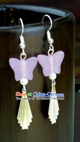 Chinese Traditional Ancient Pink Butterfly Earrings Accessories Hanfu Eardrop for Women