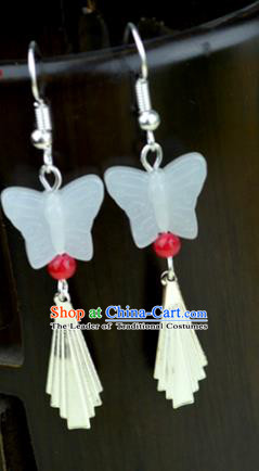 Chinese Traditional Ancient White Butterfly Earrings Accessories Hanfu Eardrop for Women