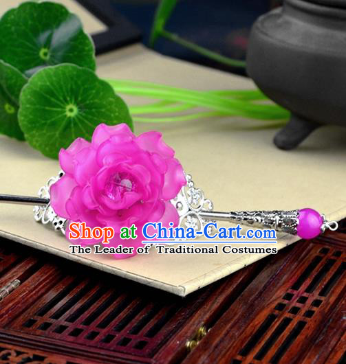 Chinese Traditional Ancient Hair Accessories Hanfu Hairpins Rosy Peony Hairdo Crown Headwear for Women
