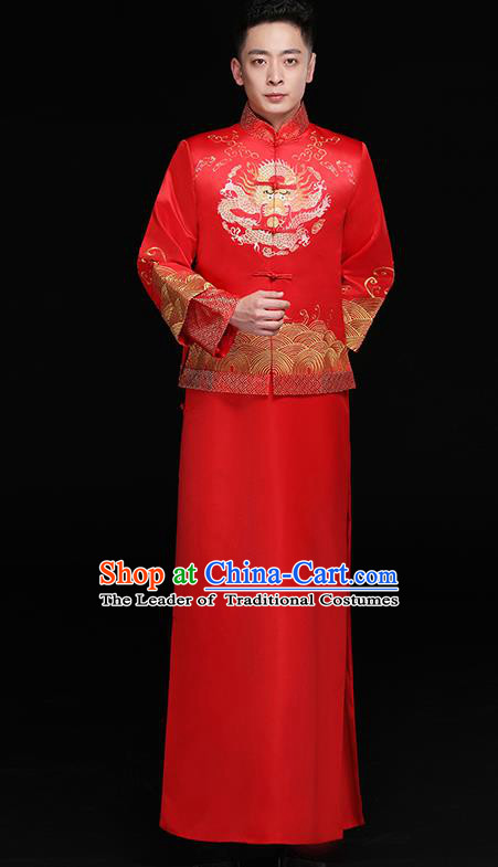Chinese Traditional Bridegroom Costume Ancient Tang Suit Embroidered Clothing for Men