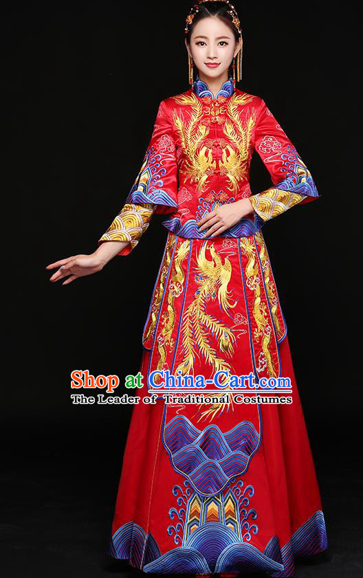 Chinese Traditional Embroidered Xiuhe Suit Ancient Phoenix Bottom Drawer Wedding Dress for Women