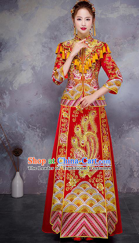 Chinese Traditional Embroidered Xiuhe Suit Ancient Bottom Drawer Wedding Dress for Women