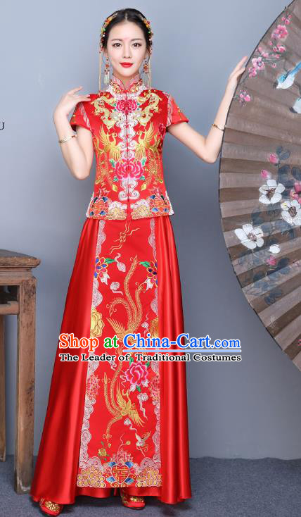 Chinese Traditional Xiuhe Suit Embroidered Blue Peony Longfeng Flown Ancient Bottom Drawer Wedding Dress for Women