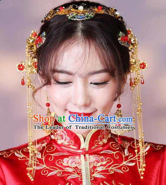 Chinese Traditional Wedding Hair Accessories Bride Hairpins Complete Set for Women