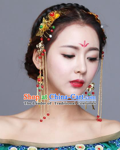 Chinese Traditional Wedding Hair Accessories Bride Tassel Hairpins Complete Set for Women