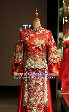 Chinese Traditional Bride Red Xiuhe Suit Ancient Longfeng Flown Embroidered Wedding Cheongsam Dress for Women