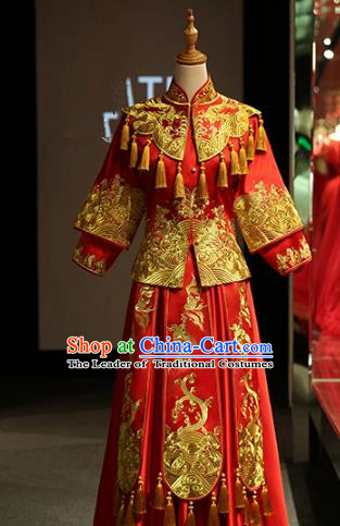 Chinese Traditional Bride Xiuhe Suit Ancient Wedding Longfeng Flown Embroidered Cheongsam Dress for Women
