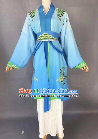 Chinese Traditional Beijing Opera Maidservant Blue Dress Peking Opera Diva Costumes for Adults