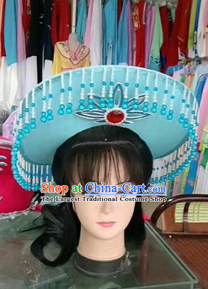 Chinese Traditional Beijing Opera Fishing Lady Blue Hat Peking Opera Drakan Headwear for Adults