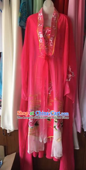 Chinese Traditional Peking Opera Nobility Lady Rosy Dress Beijing Opera Diva Costumes for Adults