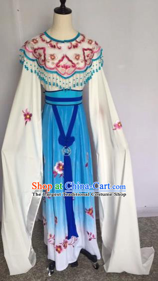 Chinese Traditional Peking Opera Princess Blue Dress Beijing Opera Diva Costumes for Adults