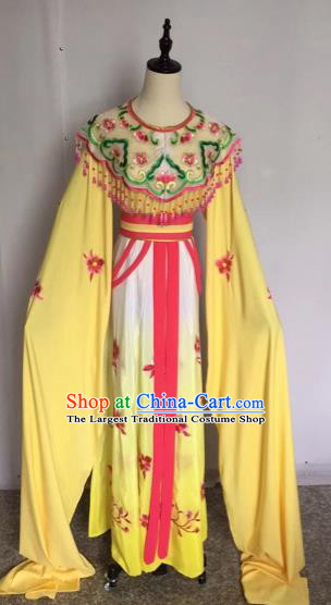 Chinese Traditional Peking Opera Princess Yellow Dress Beijing Opera Diva Costumes for Adults
