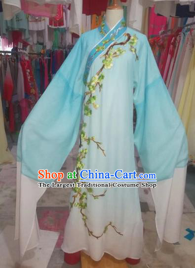 Chinese Traditional Beijing Opera Scholar Embroidered Blue Robe Peking Opera Niche Costume for Adults
