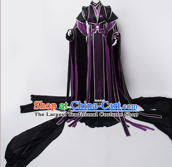 Ancient Chinese Swordsman Swordswoman Cosplay Superhero Costumes with Long Train for TV Show or Performance