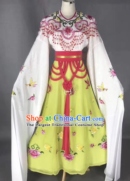 Chinese Peking Opera Diva Yellow Dress Traditional Beijing Opera Rich Lady Embroidered Costumes for Adults