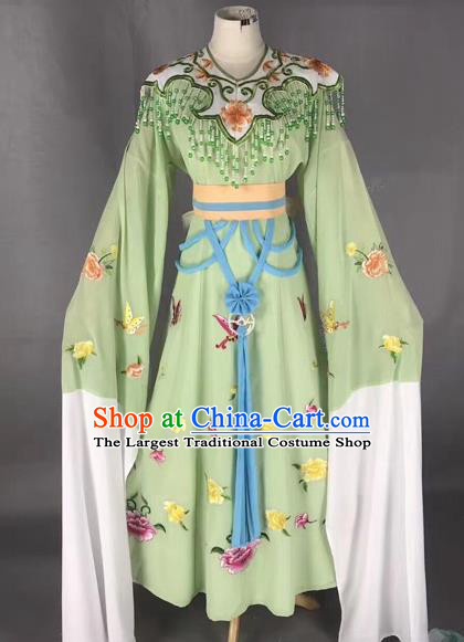 Chinese Peking Opera Diva Green Dress Traditional Beijing Opera Rich Lady Embroidered Costumes for Adults