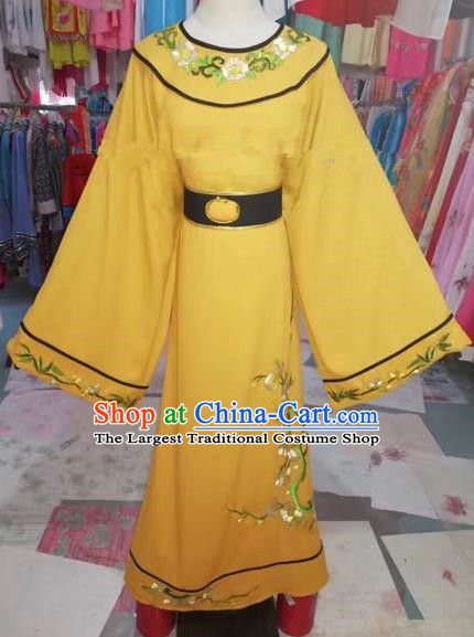 Chinese Beijing Opera Niche Embroidered Yellow Robe Traditional Peking Opera Prince Costume for Adults