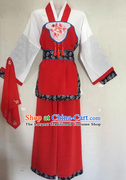 Traditional Chinese Peking Opera Servant-Girl Red Costume Beijing Opera Maidservant Dress for Adults