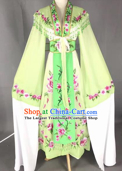 Chinese Peking Opera Actress Green Dress Traditional Beijing Opera Rich Lady Embroidered Costumes for Adults
