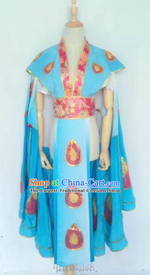 Chinese Peking Opera Butterfly Lovers Blue Dress Traditional Beijing Opera Young Lady Embroidered Costumes for Adults
