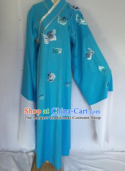 Chinese Traditional Beijing Opera Scholar Blue Robe Peking Opera Niche Clothing for Adults