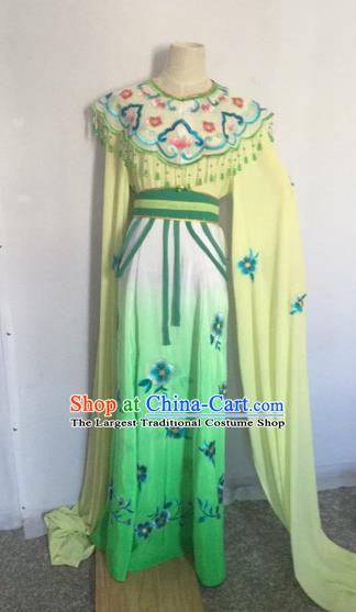 Chinese Ancient Peking Opera Young Lady Green Dress Traditional Beijing Opera Diva Costumes for Adults