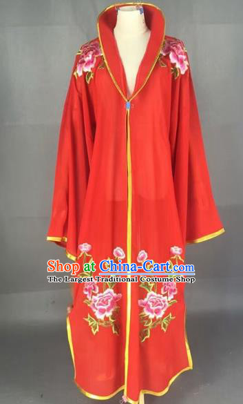 Traditional Chinese Peking Opera Diva Costume Beijing Opera Embroidered Red Cloak for Adults