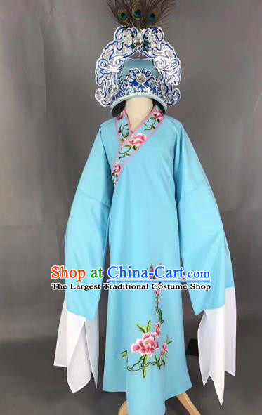 Chinese Traditional Beijing Opera Children Blue Robe Peking Opera Niche Costume and Hat for Kids