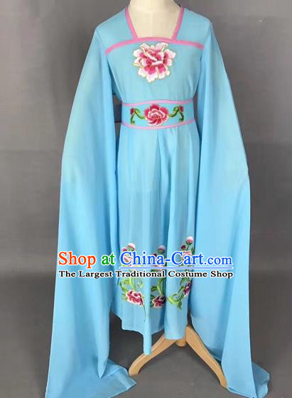 Traditional Chinese Peking Opera Diva Costume Beijing Opera Blue Dress for Kids