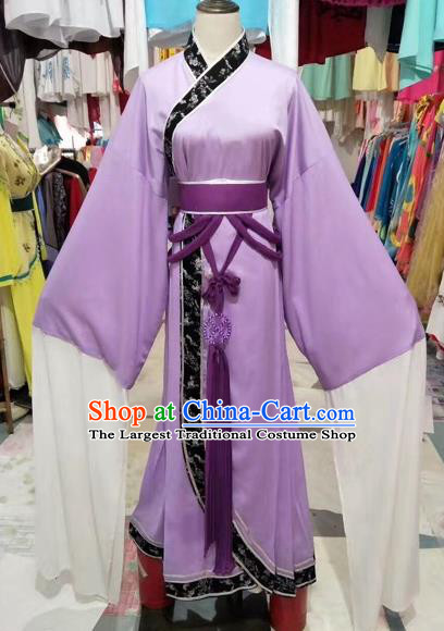 Chinese Shaoxing Opera Young Lady Princess Purple Hanfu Dress Traditional Beijing Opera Diva Costume for Adults
