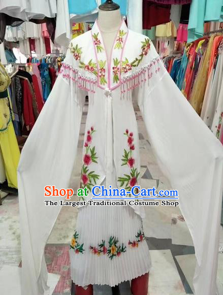 Chinese Shaoxing Opera Princess White Dress Traditional Beijing Opera Diva Costume for Adults
