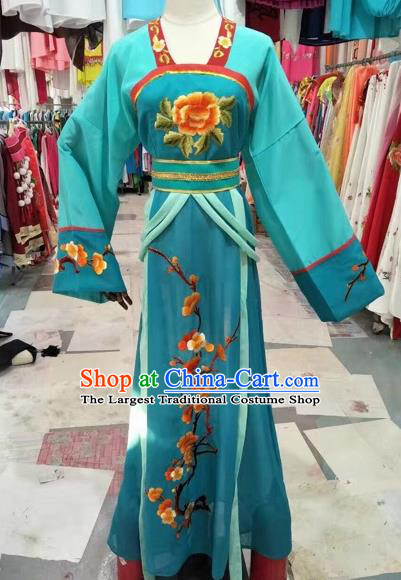 Chinese Shaoxing Opera Embroidered Green Dress Traditional Beijing Opera Diva Costume for Adults